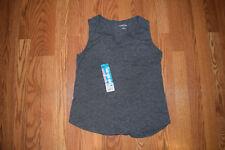 New Womens EDDIE BAUER Split V-Neck Sleeveless Charcoal Gray Tank Top Shirt XL