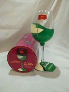 """Lolita """"19th Hole"""" 15oz Hand Painted Wine Glass with Recipe on Bottom."""
