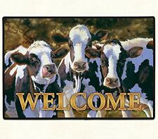 "DOORMAT--18"" X 27""-- Dairy Queens COW Welcome, non-skid rubber backed,"