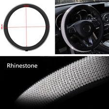 1x 15'' 38cm Bling Rhinestone PU Leather Car SUV Steering Wheel Cover Protector