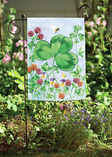 New Toland Clover and Bee 12.5 x 18 Spring Flower St Patrick Day Garden Flag