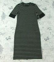 NWT Lauren Women's Black/White Stripe Short Sleeve Knit Dress Petite XS PXS
