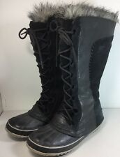 Sorel Cate the Great Black Tall Fur Leather Winter Boots RARE 9