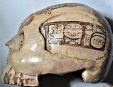 "New ListingSale! Pre Columbian Mayan Skull, glyphs 5"" Prov"