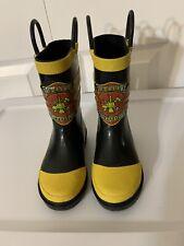 Western Chief LITTLE KIDS FDUSA CAPTAIN Black Yellow Red RAIN BOOTS SHOES Sz 7/8