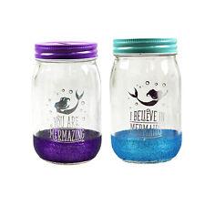Set of 2 Mermaid Money Tin Coin Piggy Bank Glass Savings Mason Jar Travel Fund
