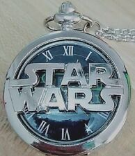 Stars Wars Silver Pocket Watch Necklace Chain The Last Jedi Return of Sci Fi USA