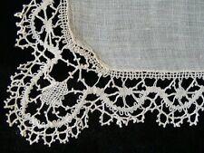 BEAUTIFUL Antique Victorian Linen HAND MADE BOBBIN LACE Wedding Hanky PRISTINE