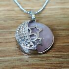 Rose Quartz Stone Fashion Pendant Reiki Chakra Healing Necklace Moon and Stars