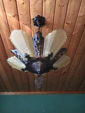 30s Art Deco Yellow Frosted 5 Light Fixture Slip Shade Chandelier Antique Virden