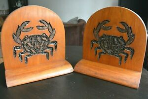 Stunning Large Arts & Crafts Bookends Rosewood, Carved Copper Wire Crab Design