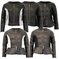 Girls Biker Jacket Kids Diamond Quilted PVC Leather Look Baseball Style Zip New