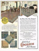 1920s BIG Vintage Congoleum Art Rug Period Interior Art Print Ad