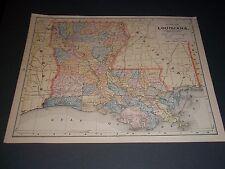 1891 LOUISIANA Antique color state map original authentic