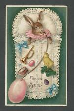Postcard Easter Bunny Rabbit in Lace Bunting W / Egg Bottle and toys - German