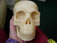 Crystal skull large yellow aragonite