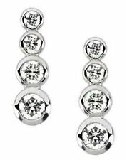 1.25 ct Round Diamond 4 stone Graduated Journey Earrings 14k Gold F-G, VS/SI1