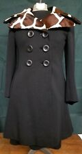 Genuine Fur Collar 60s Mod Knit Black Dress Coat Set Giraffe Betty Carol Size 6