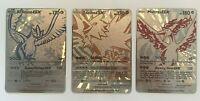 Pokemon Articuno, Moltres & Zapdos GX Silver Metal Custom Cards