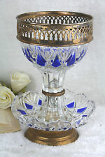 Vintage french Table centerpiece bowl candy blue crystal clear glass crystal cut