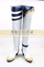 Knightfall 2 KOS-MOS Girls White Long Cosplay Shoes Boots C006