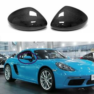 Carbon Fiber Mirror Cover for 16+ Porsche 718 Boxster Cayman Add on Housing Caps