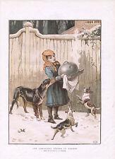 Niña Con cena de Navidad Atrae hambre Perros Antiguo Perro impresión 1882