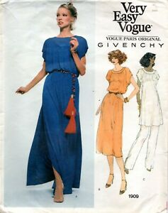 70s Vogue Sewing Pattern 1909 Givenchy Misses' Dress, Tunic and Pants Size 12