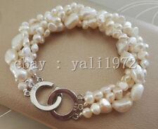 4 Reihen 9-10mm 5-6mm Weiß Barock Süßwasser perle armband 19-20cm