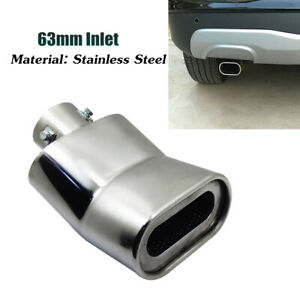 Car Tail Larynx Stainless Steel Exhaust Muffler Tips 63mm Inlet Curved Exhaust