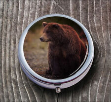 BEAR AMERICAN GRIZZLY PILL BOX ROUND METAL -v4tb5