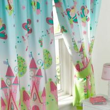 """GIRLS LIME GREEN FAIRYTALE PRINCESS  BUTTERFLY BEDROOM CURTAINS 168x137cm 66x54/"""""""