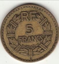 5 FRANCS BRONZE ALU 1945 C = CASTELSARASSIN  TTB