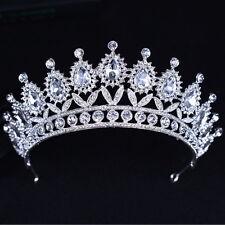 7cm High Large Drip Crystal Leaf Wedding Bridal Party Pageant Prom Tiara Crown