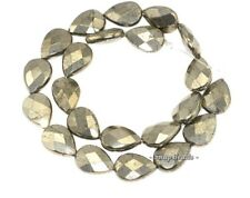 """PALAZZO IRON PYRITE GEMSTONE FACETED TEARDROP 18X13MM LOOSE BEADS 15.5"""""""