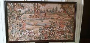 Arazzo Antico GRANDEcm175x105 CACCIA NOBILI Cornice cani quadro vecchio vintage
