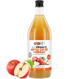 Pipkin Raw 100% Organic Unfiltered Apple Cider Vinegar w/ Mother 1L Glass Jar