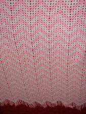 Handcrafted Crochet Afghan Throw Blanket ~ pink and white with beads