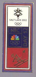 2002 NBC Day 12 Downhill Skiing Olympic Pin Salt Lake City Press Media