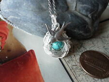 BIRD NEST 1 EGG NECKLACE WITH MAMA BIRD  Silver AND TURQUOISE BEAD