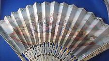ancien grand eventail fan abanico ventaglio papier peint decor cene galante XIXe