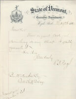 Governor of Vermont, Carroll Page, Autographed Letter Signed 1892