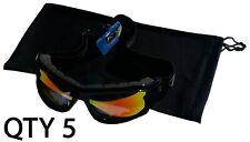 "Qty 5 Ski Winter Recreation Snowboarding Pouches Soft Pouch Black Bag 6""x10"""