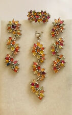 Solid Silver 925 Multi-Color Sapphire Cluster Pendant Earring Ring15.30GM