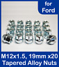 20 Alloy Wheel Nuts for Ford Cars with Large Centre Caps 12 x 1.5 Open 19 Hex.