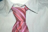 PIERRE CLARENCE  Superbe cravate rose en soie  silk tie corbata krawatte