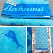 Tommy Bahama Marlin Logo Beach Towel Turquoise Sea Blue Fish Ocean 36x68 NEW