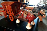 47cms Vintage Ceramic Full Regalia Shire Horse With Wooden Gypsy Caravan VGC
