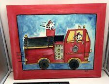 "Fire Truck & Dog wrapped canvas 16"" x 20"" wall art Boys bedroom nursery dalmatio"