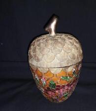 Vintage Cloisonne Acorn Lidded Trinket Box Mother's Day Gift